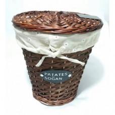 Gerçek El Dokuması Hasır Gövdeli ve Kapaklı Konik Patates Soğan Ekmek Sepeti