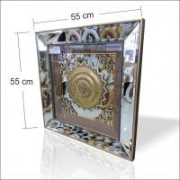 Etajer Sehpa Masa Portmanto Üstüne Altın Renk Aluminyum Çerçeve Taşlı Aynalı Dini Ayetli Pano Tablo