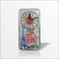 Bombe Cam Muhafazalı 17 x 9 cm Eyfel Mıknatıslı Magnet Refregrator Wall Clock Buzdolabı Duvar Saati