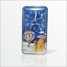 Büyük Ebat Dikey Bombe Cam Muhafazalı 17x9 cm Kapadokya Mıknatıslı Wall Clock Buzdolabı Duvar Saati