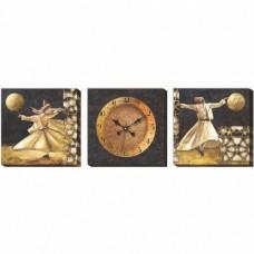 105x35cm Mevlana Semazen Kaliteli Kanvas Sessiz Çalışan İsm-i Celil İsm-i Nebi Lafslı Duvar Saati