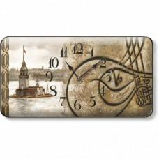 47X25cm Nostaljik Retro Vintage Osmanlı Eskitme Tuğralı Kız Kuleli Bombe Camlı Sessiz Duvar Saati
