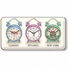 3lü Üçlü 3'lü üç lü Dünya London İstanbul Newyork Renkli Bombe Camlı Sessiz Kayar Saniye Duvar Saati