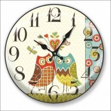 30cm Bombe Camlı Çift Gamlı Renkli Baykuşlu Arası Kalpli Okunaklı Kalın Rakkamlı Sessiz Duvar Saati