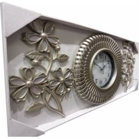 Taşlı İncili Ferforje Üç 3 Parçalı Aynalı Çiçek Rustik Gümüş Eskitme İnci Beyazı Camlı Duvar Saati