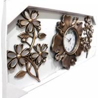 Taşlı Aynalı Yaprak Ferforje Görünüm Üç 3 Parça Çiçek Bakır Ahşap Eskitme Rustik Tasarım Duvar Saati