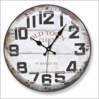 Dev Büyük Ebat 48 cm Eskitme Retro Vintage Bombe Camlı Hollow Glass Big Quiet Wall Clock Duvar Saati