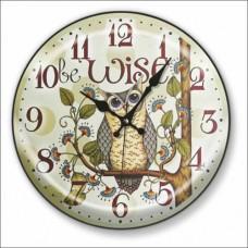Antik Retro Vintage Karikatürize Çiçekli Baykuş Bombe Camlı 48 cm Owl Wall Clock Sessiz Duvar Saati
