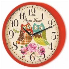 Red Frame Çerçeve Camlı Sessiz Saniye Baykuşlu Güllü Sweet Home Wall Clock 22cm Kırmızı Duvar Saati