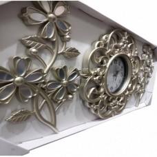 Ferforje Üç 3 Parçalı Çiçek Desenli Rustik Gümüş Eskitme İnci Beyazı 40cm Camlı Oymalı Duvar Saati