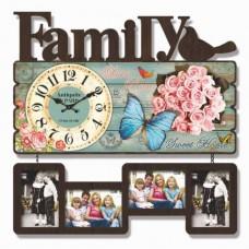 60x59 cm Family Mdf Orijinal Görsel Fotoğraf Çerçeveli Sessiz Duvar Saati