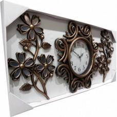 Ferforje Görünüm Üç 3 Parçalı Aynalı Çiçek Bakır Ahşap Eskitme Rustik Tasarım 40cm Camlı Duvar Saati
