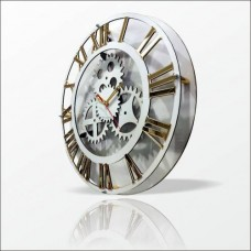 Beyaz Kasa Altın Ayna Romen Rakkamlı 40cm Dişli Çarklı Mekanik Mühendislik Tasarımlı Duvar Saati