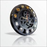 Siyah Kasa Altın Ayna Latin Rakkamlı 40 cm Dişli Çarklı Mekanik Mühendislik Tasarımlı Duvar Saati