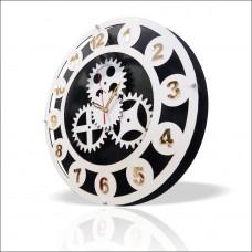 Büyük 40 cm Beyaz Kasa Altın Ayna Latin Rakkamlı Gerçek Dönmeyen Dişli Çarklı Sessiz Duvar Saati
