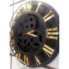 Büyük 40 cm Siyah Kasa Altın Ayna Latin Rakkamlı Gerçek Dönmeyen Dişli Çarklı Sessiz Duvar Saati