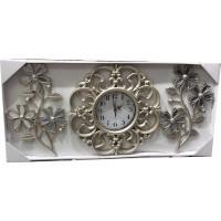Ferforje 3 Parça Çiçek Desenli Rustik Gümüş Eskitme Yükseklik 35 cm Ön Camlı Sessiz Duvar Saati Saat