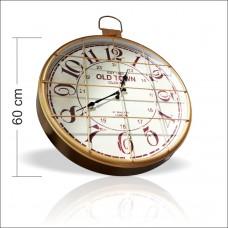 Dev Büyük Altın Renk Kocaman 60cm Kareli Mazgallı Parmaklıklı Demir Çelik Metal Okunaklı Duvar Saati
