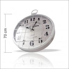 Dev Büyük Beyaz Kocaman 70 cm Kareli Mazgallı Parmaklıklı Demir Çelik Metal Okunaklı Duvar Saati