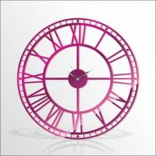 Büyük Dev Mor 120cm Romen Rakkamlı Arkası Görünen Sessiz Big Giant Purple Wall Clock Duvar Saati