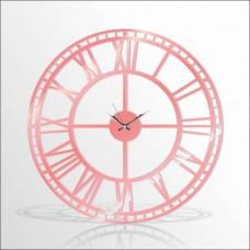 Büyük Dev Pembe 120cm Romen Rakkamlı Arkası Görünen Sessiz Big Giant Pink Wall Clock Duvar Saati