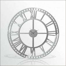 Büyük Dev Metalik 120cm Romen Rakkamlı Arkası Görünen Sessiz Big Giant Silver Wall Clock Duvar Saati