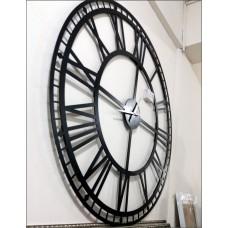 Büyük Dev Siyah 190cm Romen Rakkamlı Arkası Görünen Sessiz Big Giant Black Wall Clock Duvar Saati