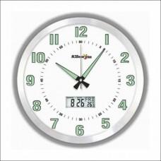 Termometreli Fosforlu Gece Parlayan 40cm Aluminyum Çerçeve Kaliteli Sessiz Çalışan Ev İş Duvar Saati