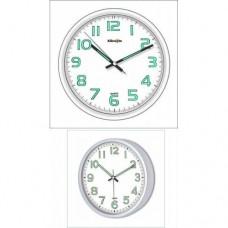 White Frame Beyaz Kasa 28cm ve 22cm Fosforlu Bombe Camlı Sessiz Quite Wall Clock Duvar Saati Seti