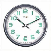 Silver Metallic Frame Gümüş Metalik Çerçeve Fosforlu Phosphorous Quiet Glazed Wall Clock Duvar Saati