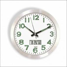 Termometreli Fosforlu 30cm Garantili Camlı Aluminyum Isı Sıcaklık Tarih Göstergeli Ofis Duvar Saati (