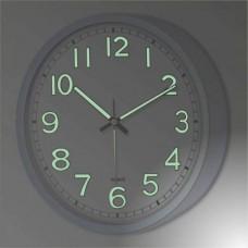 Beyaz Metalik Kasa 22cm Fosforlu Gece Parlayan Işıldayan Ön Camlı Askılı Kalın Ev İşyeri Duvar Saati