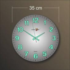 Büyük Kalın Rakkam 35 cm Ebat Çapında Bombe Camlı Sessiz Kayar Saniye Garantili Fosforlu Duvar Saati