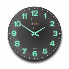 Büyük Ebat Siyah Zemin Kalın Rakkam 35 cm Bombe Camlı Sessiz Çalışan Garantili Fosforlu Duvar Saati