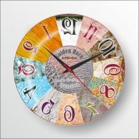 Ters Çalışan Reverse Run Aynadan Okunabilen Renkli Kadran Bombe Camlı Wall Clock 35 cm Duvar Saati