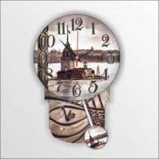 Kız Kuleli Osmanlı Tuğralı Sarkaçlı Girl Tower Ottoman Tigral With Pendulum Wall Clock Duvar Saati