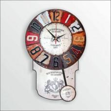 46cm Sallanır Sarkaçlı Şahküllü Rakkaslı Renkli Dart Desenli Ahşap Retro Vintage Eskitme Duvar Saati