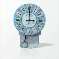 M3 Sallanır Sarkaçlı Şahküllü Rakkaslı Mavi Ahşap Retro Vintage Eskitme Romen Rakkamlı Duvar Saati