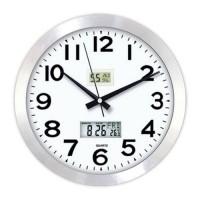 Hassas Dijital 36 cm Dijital Termometreli Nem Ölçerli Camlı Satine Aluminyum Metal Ofis Duvar Saati