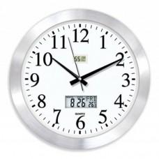 Hassas Dijital 48 cm Dijital Termometreli Nem Ölçerli Camlı Satine Aluminyum Metal Ofis Duvar Saati