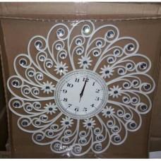 Akrilik Döküm Ayna Taşlı Beyaz Ferforje Desenli Çiçekli Osmanlı Fas Motifi Kıvrımlı 55cm Duvar Saati