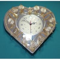 Büyük Altın Varak Renk Yaprak İşlemeli Mücevher Kalitesinde Cam Ayna Duvar Saati
