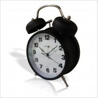 Paslanmaz Çelik ve Ön Camlı Işıklı Fosforlu Klasik Zilli Çanlı Alarmlı Çalar Ayaklı Masa Saati Saat
