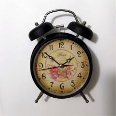 Işıklı Fosforlu Sessiz Kayar Saniye Çift İki Çanlı Zilli Saplı Kulplu Nostaljik Retro Çalar Saat